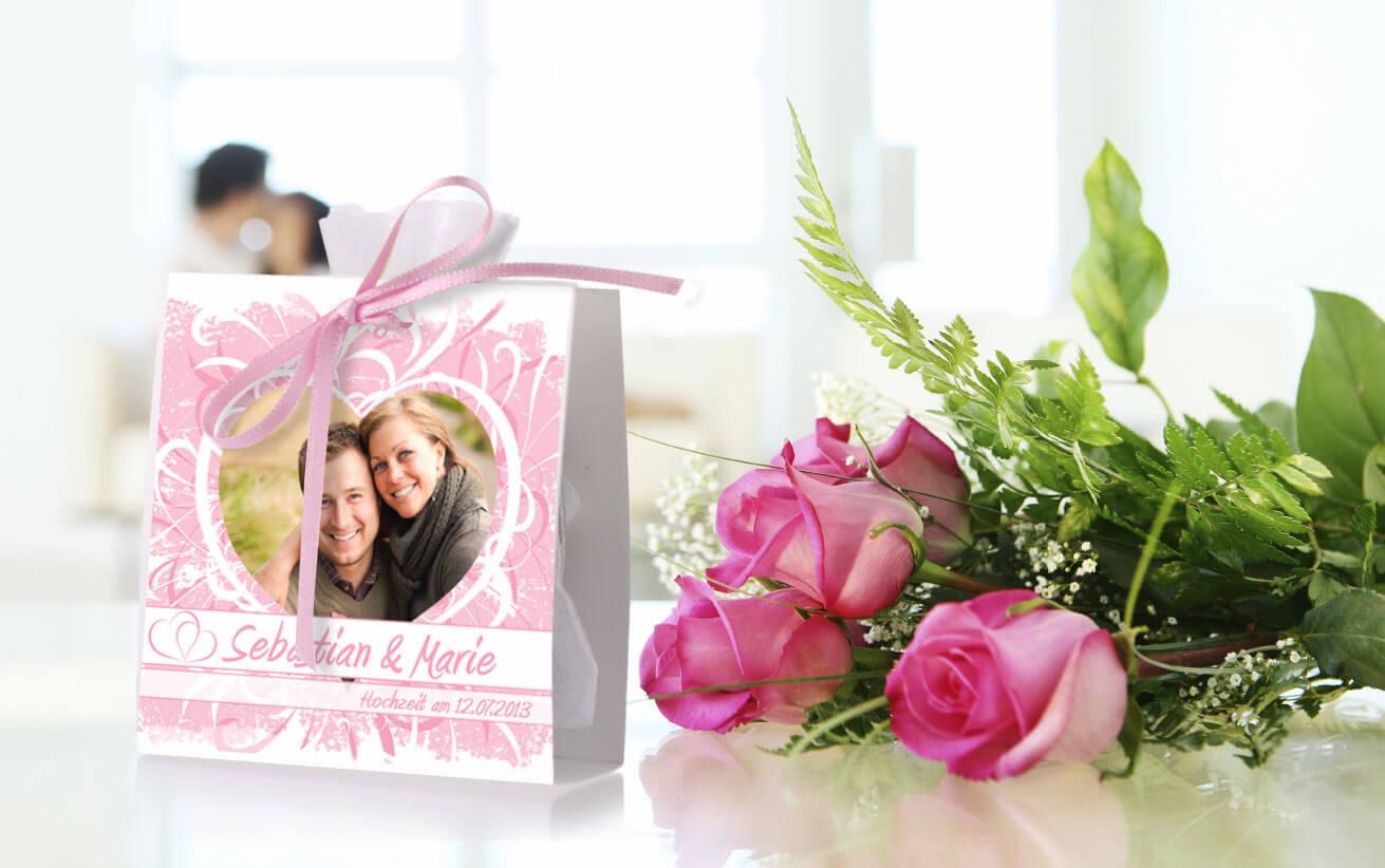 Hochzeit Bonboniere mit Blumen