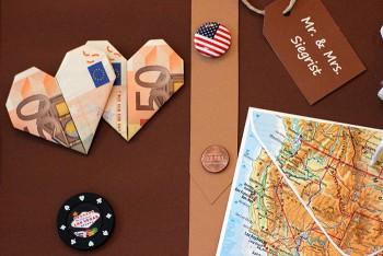 Geldgeschenk zu Hochzeit für Reisefans: Reisekoffer basteln