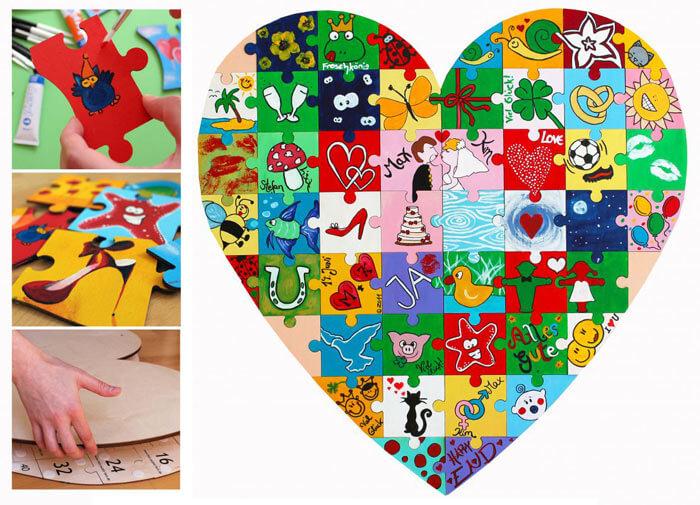 Hochzeitsgeschenk Herz Holzpuzzle