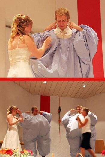 Hochzeitsspiel Luftballons Männerfüttern