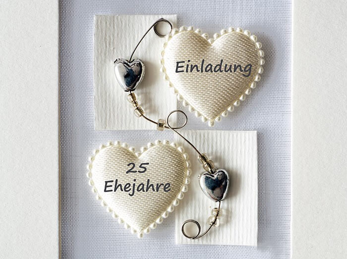 Silberhochzeit Einladungskarten Herz