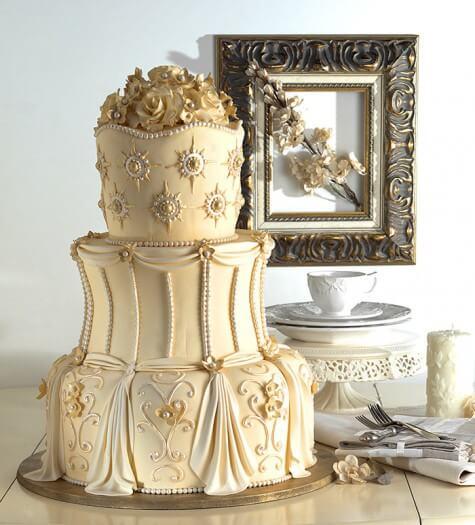 Hochzeitstorte » Torte Goldene Hochzeit