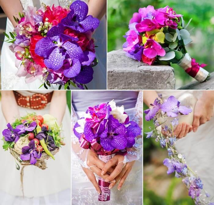 Brautstrauß Orchideen blau-lila