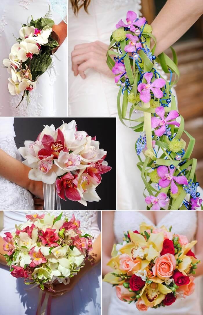 Brautstrauß Orchideen bunt