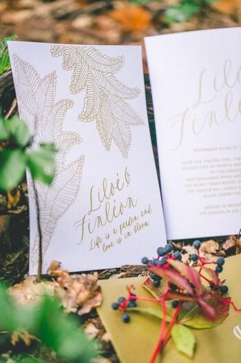 Einladungskarte zur Waldhochzeit