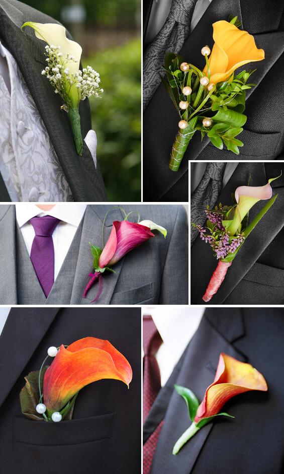 Hochzeitsanstecker mit Calla in Weiß, Rosa, Orange