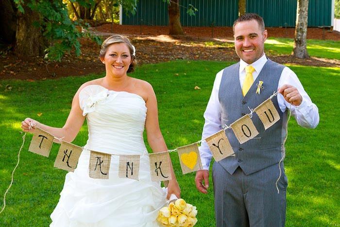 Hochzeitsfotos für die Dankeskarte