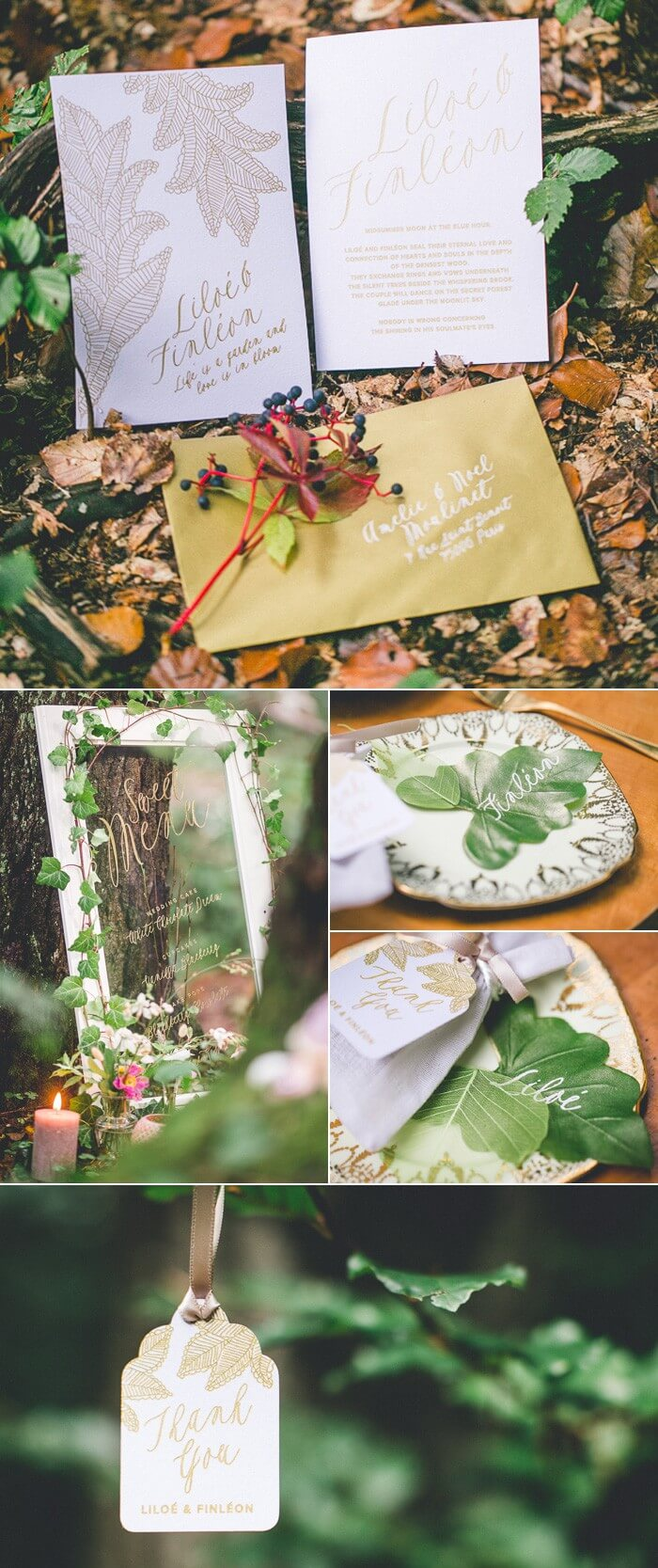 Hochzeitspapeterie für eine Waldhochzeit: Einladungskarten, Menütafel, Namenskarten, Gastgeschenk