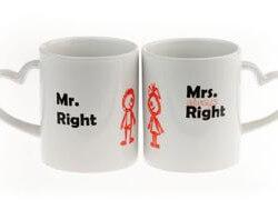 Geschenke zum Hochzeitstag: Tassen Mr. und Mrs. Right