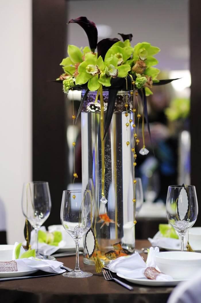 Blumen-Tischdeko Hochzeit
