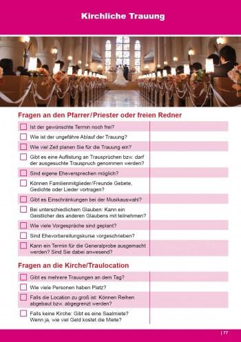 Checkliste Kirchliche Trauung