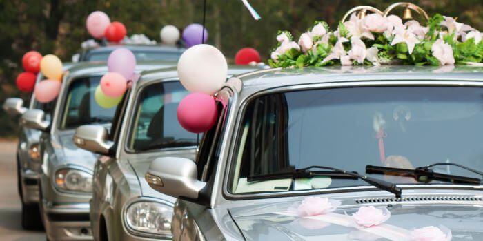 Hochzeit Autoschmuck
