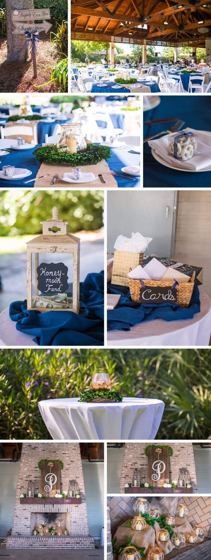 Tischdeko in Blau