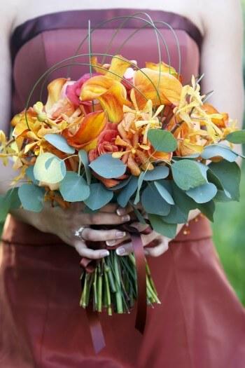 Brautstrauß orange rot