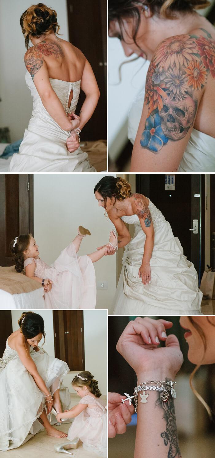 Braut mit Tattoos