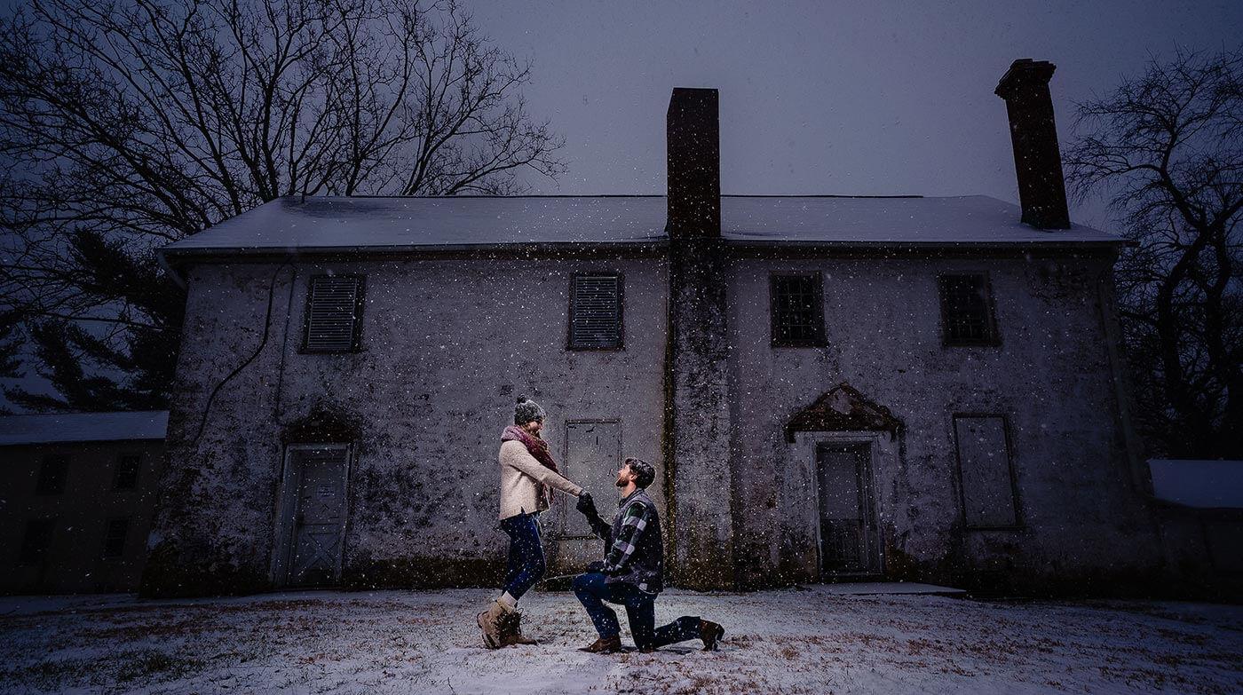 Heiratsantrag Schnee