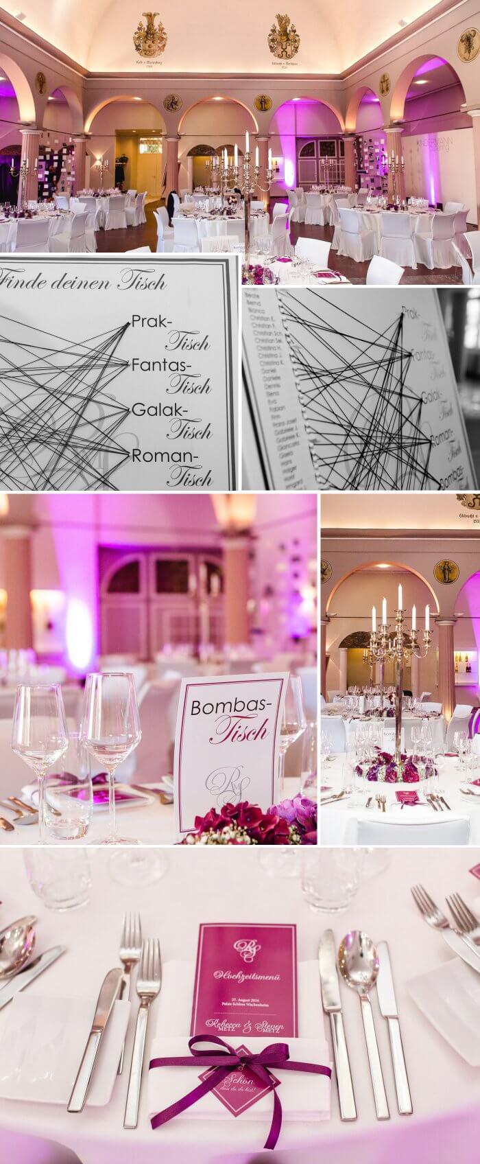 Tischdeko Hochzeit Beerentöne