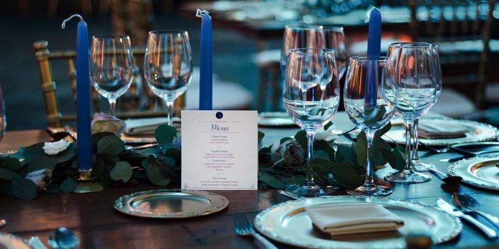 Tischdeko Hochzeit Blau Silber