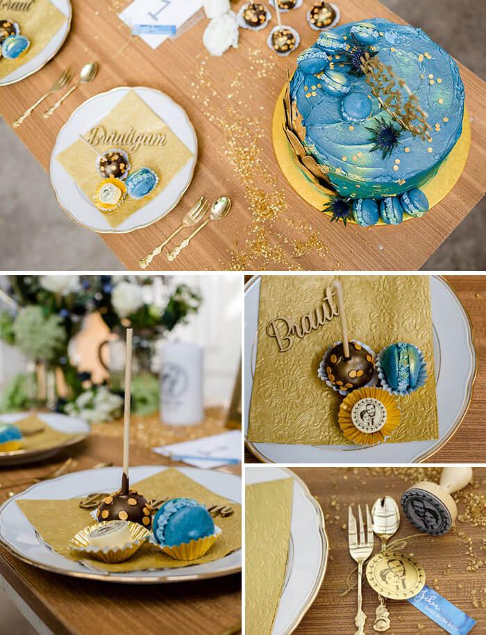 Tischdeko Gold Blau