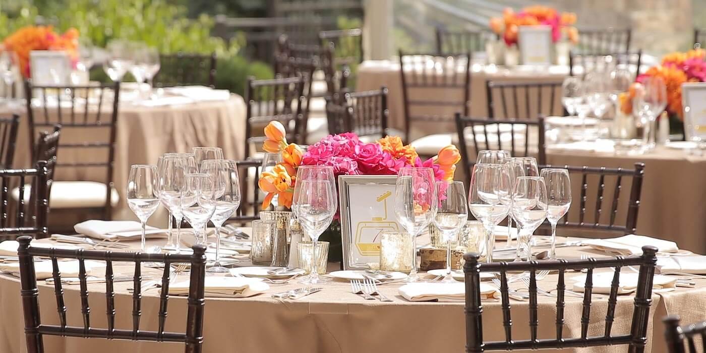 Tischdeko Pink und Orange