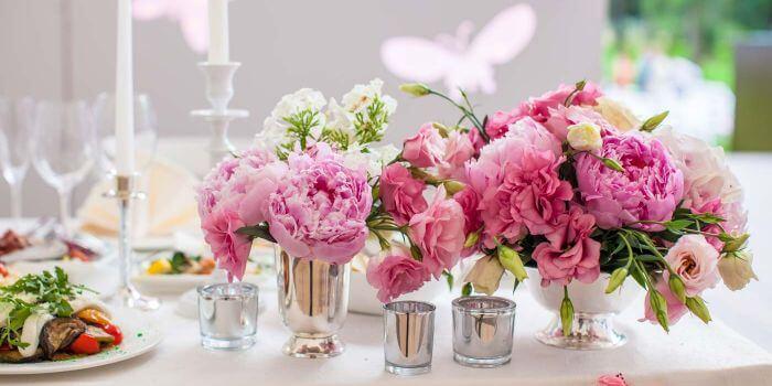 Tischdeko in Pink