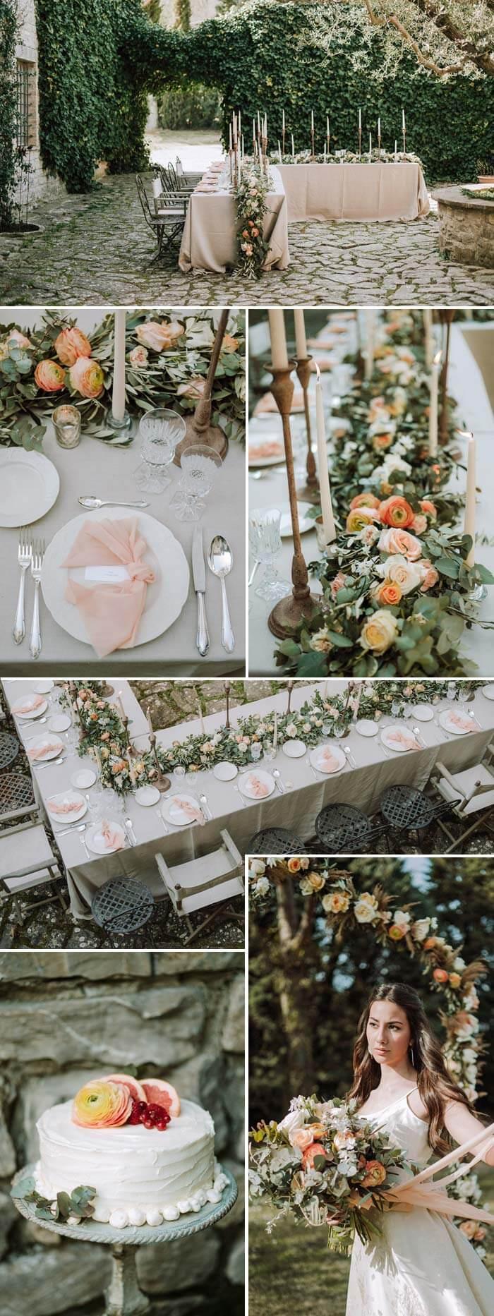 Hochzeitsdeko Apricot Lachs