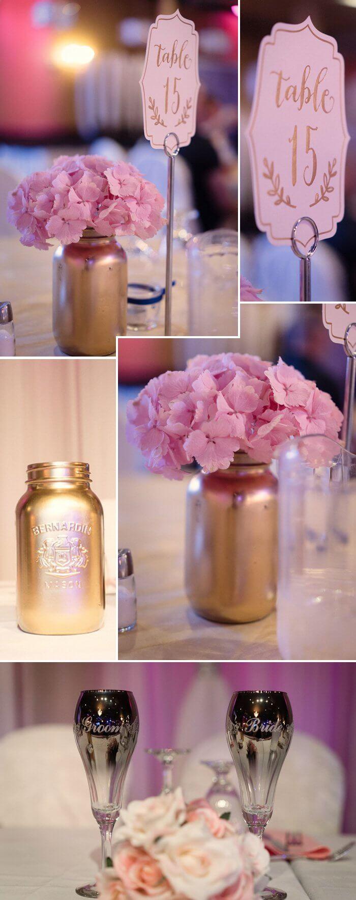 Wo Tisch- und Hochzeitsdeko Apricot, Rosé und Gold erstahlen