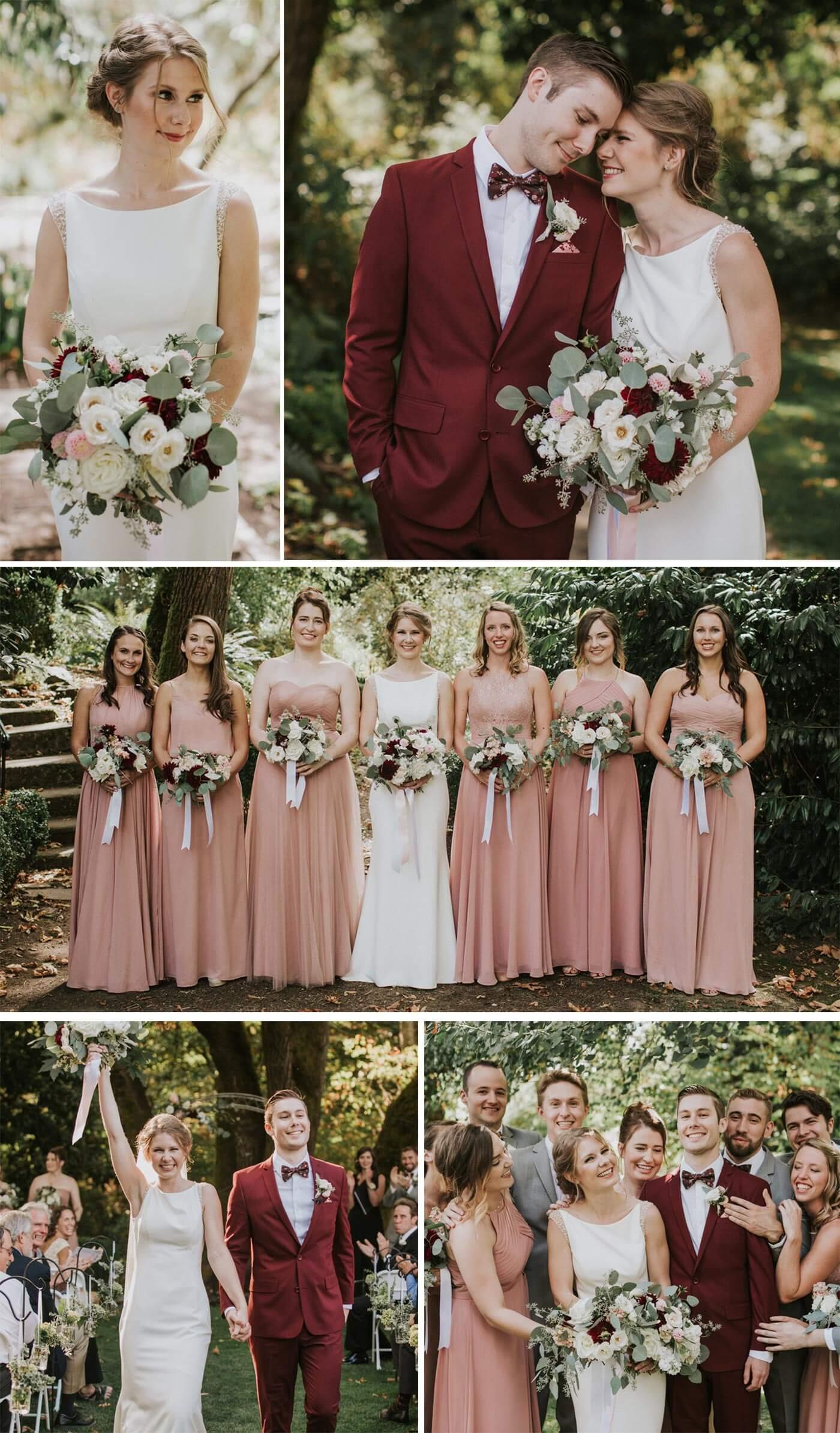 Hochzeit rot weiß mauve
