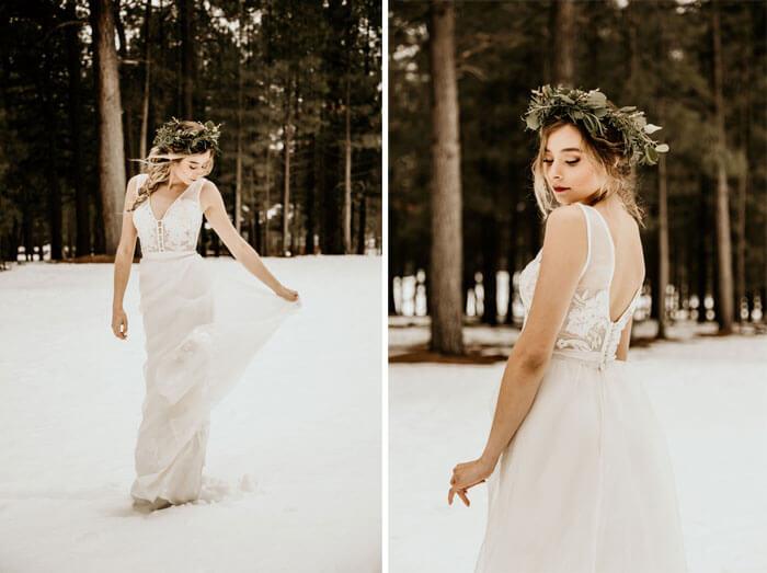 Brautkleid im Schnee