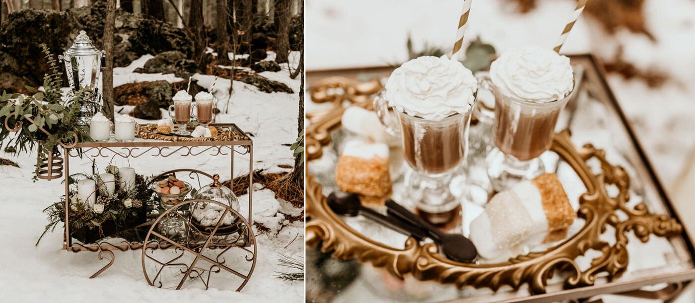 Schnee Hochzeit Kakaobar