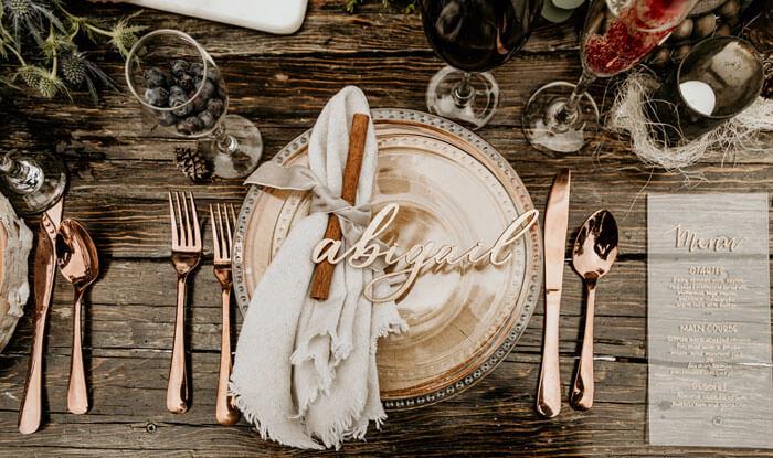 Winterhochzeit Tischdeko
