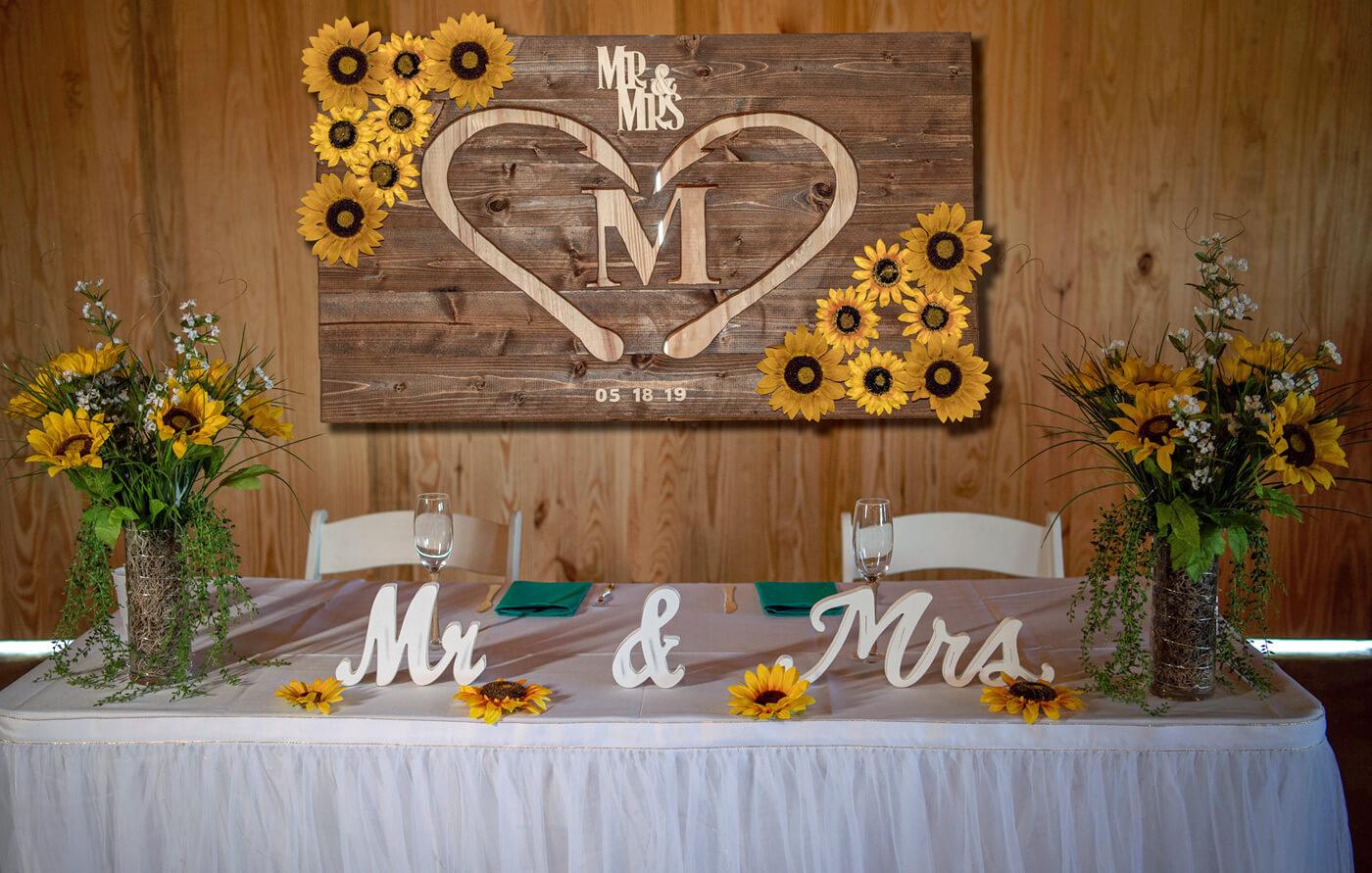 Brauttisch Sonnenblumen