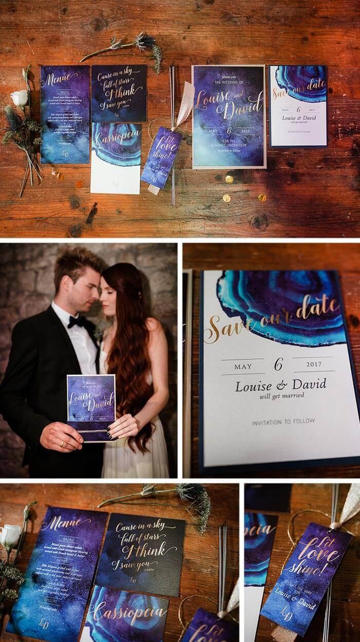 Hochzeitseinladung Sternenhimmel