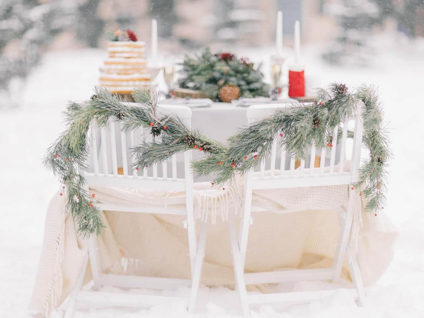 Weihnachtliche Hochzeitsdeko