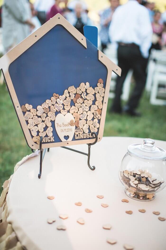 Gästebuch Hochzeit Holzherzen