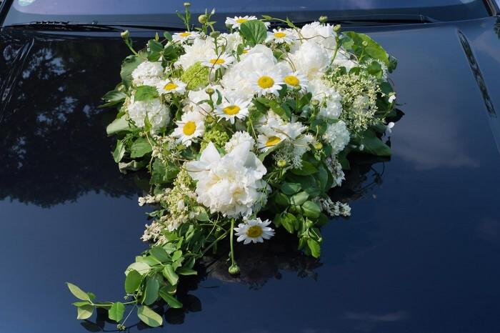 Autodeko Hochzeit Blumen  Große Bildergalerie