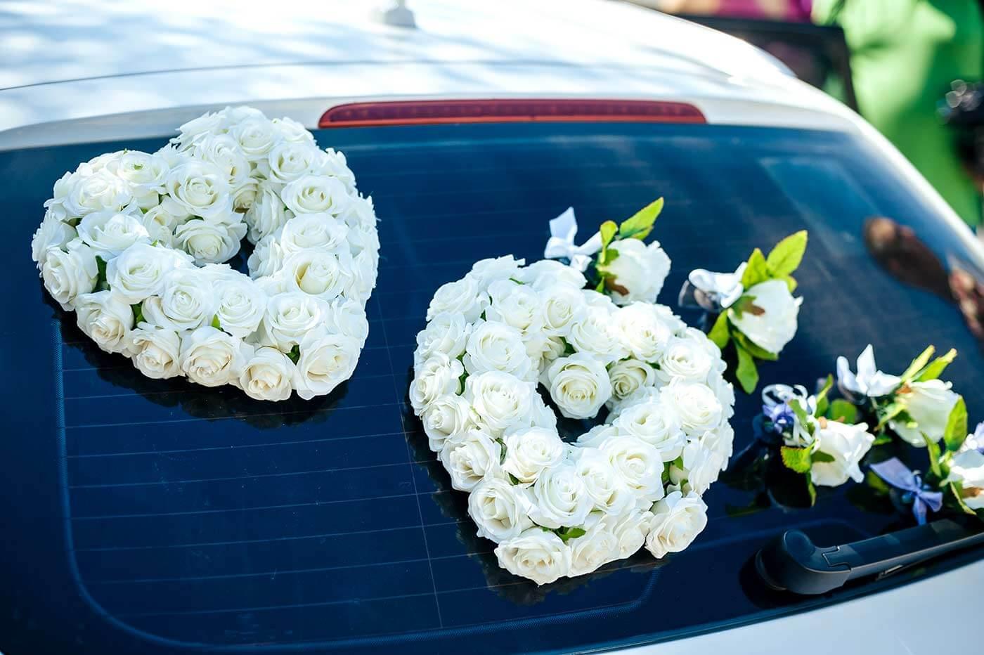 Hochzeit Autoschmuck Weiß