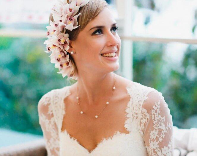 Brautfrisur blumenkranz