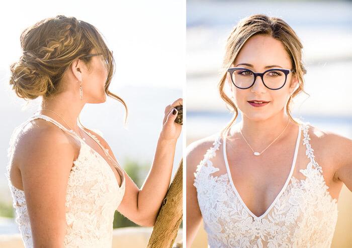 Brautfrisur für die Braut mit Brille