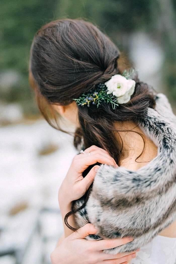 Brautfrisur Winter