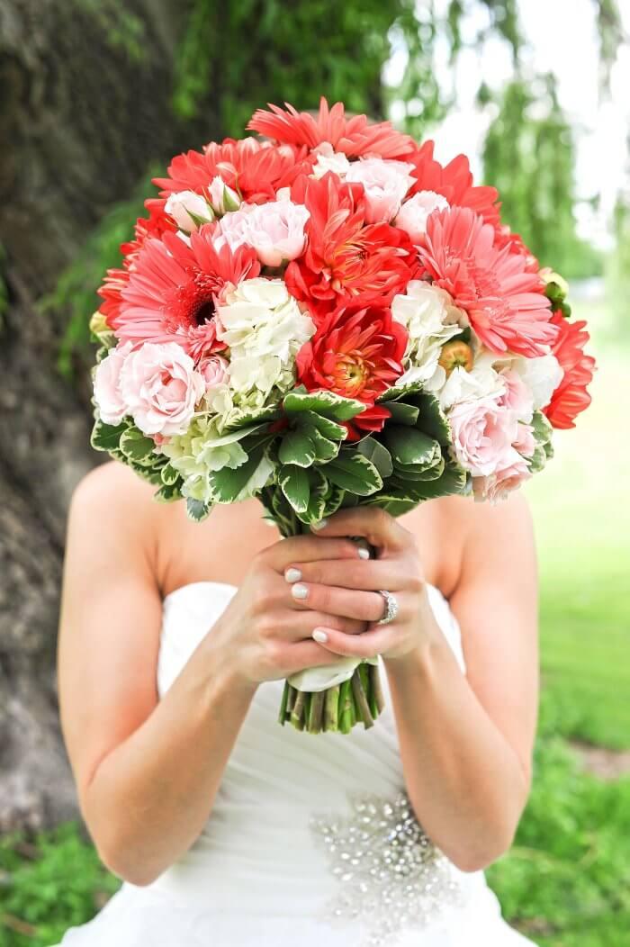 Brautstrauß Gerbera rot