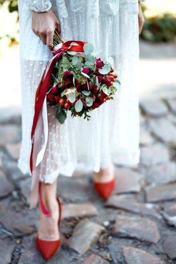 Brautstrauß Eukalyptus Rosen