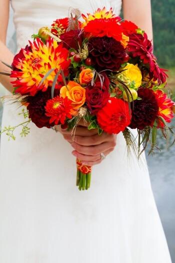 Brautstrauß Gelb-Rot