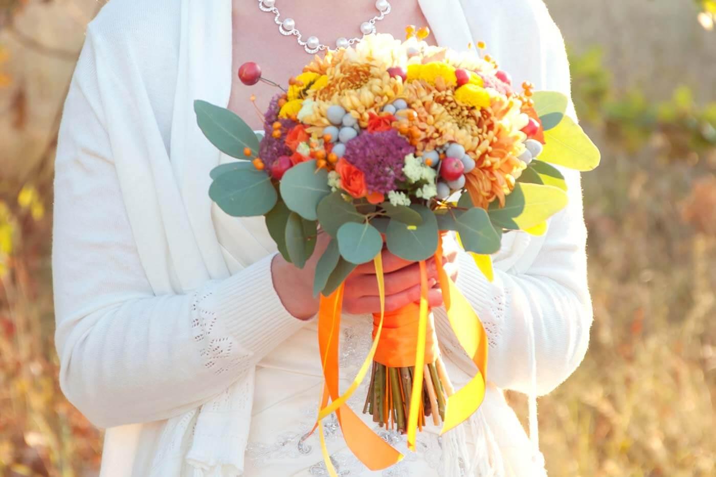 Herbstblumen Brautstrauß