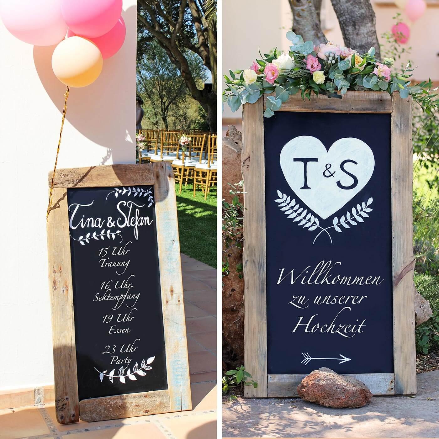 Hochzeitsdeko für den Eingang