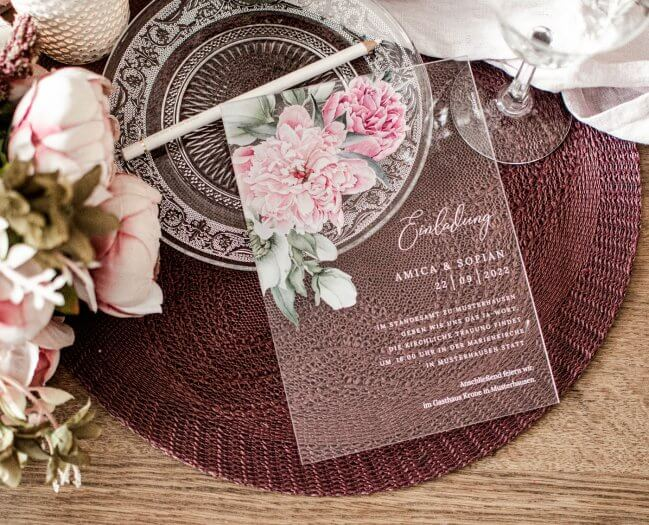 Acryl Einladungen Hochzeit
