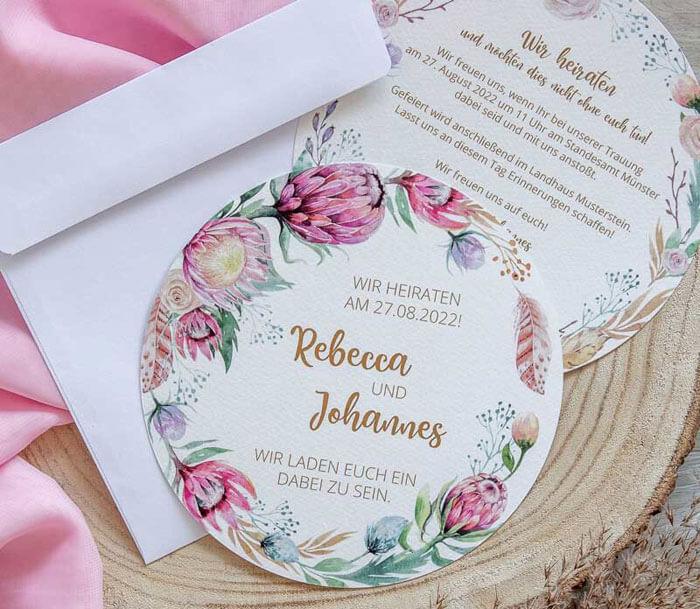Einladungskarten Hochzeit Boho