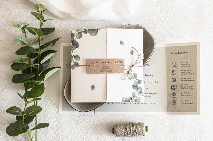Eukalyptus Einladung zur Hochzeit