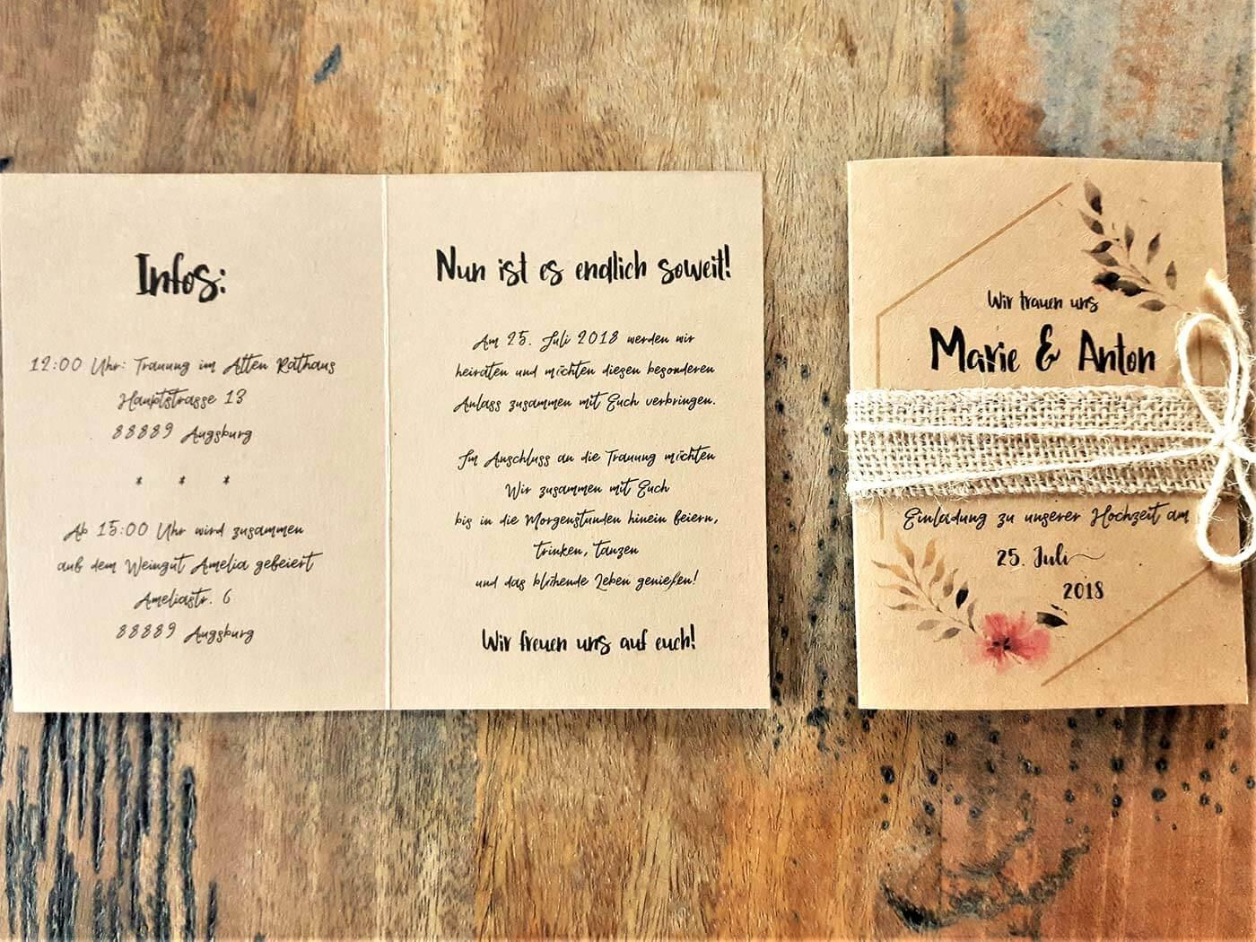 Hochzeit Einladung: Text