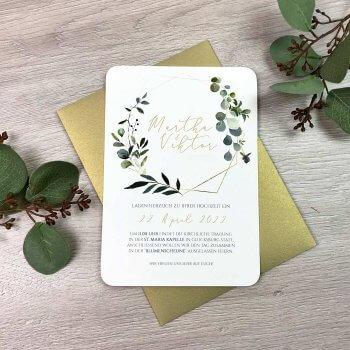 Hochzeitseinladung Eukalyptus Gold